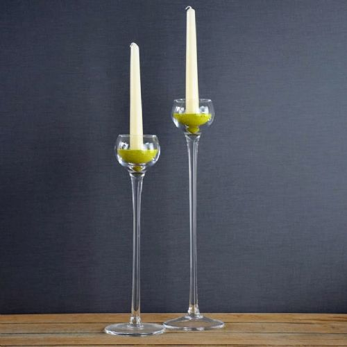Tall Glass Candle Holder Set